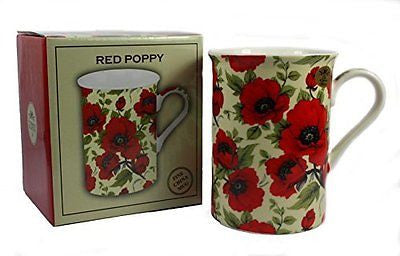 Red Poppy Fine China Mug - hanrattycraftsgifts.co.uk