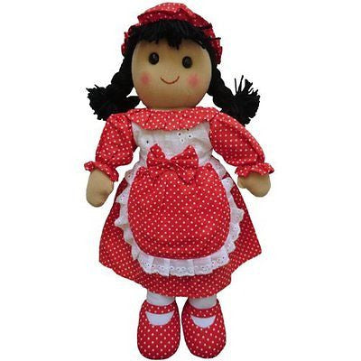 Rag Doll with Red Polka Dress - Handmade - Large 40cms - Powell Craft - hanrattycraftsgifts.co.uk