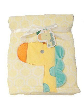 Supersoft Superior Quality Luxurious Yellow 3D Giraffe Pram/Crib Blanket - hanrattycraftsgifts.co.uk