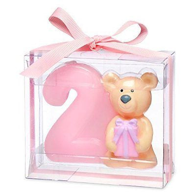 Teddy bear with number 2. 80 x 35 x 70mm. pink - hanrattycraftsgifts.co.uk