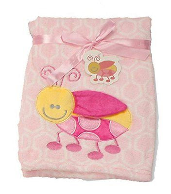 Supersoft Superior Quality Luxurious Pink 3D Ladybird Pram/Crib Blanket - hanrattycraftsgifts.co.uk