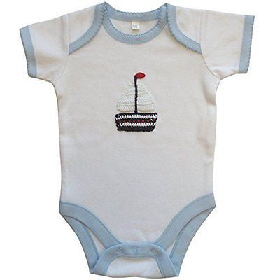 Powell Craft 100% Cotton Embroidered Boat Babygrow 6-12m - hanrattycraftsgifts.co.uk