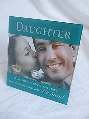 """Daughter"" Sentimental Jade Green Glass 6"" x 4"" (15x10cm) Photo Frame with Senti - hanrattycraftsgifts.co.uk"
