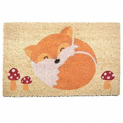Coir Door Mat - Sleeping Fox and Toadstools - hanrattycraftsgifts.co.uk