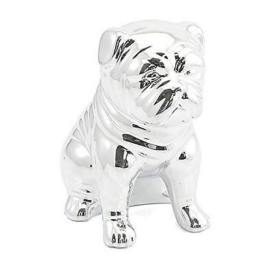 shinny silver look bulldog money bank bulldog - hanrattycraftsgifts.co.uk