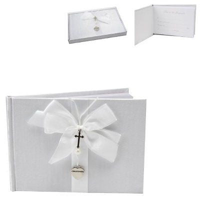 White Christening Guest Book - Silver Cross and Heart Charm - hanrattycraftsgifts.co.uk