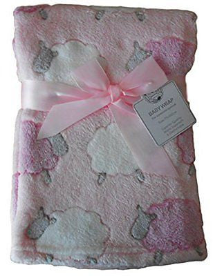 Baby Girls Pink White and Grey Sheep Animals Wrap Blanket 75cm x 100cm approx