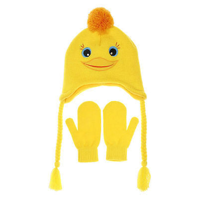 Yellow Duck Hat and Mittens Set