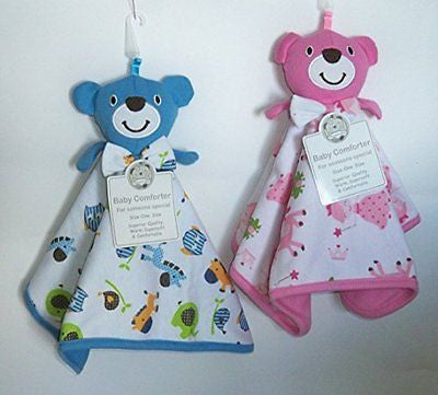 Teddy Comforter Blue or Pink, Safe for Baby (Blue) - hanrattycraftsgifts.co.uk