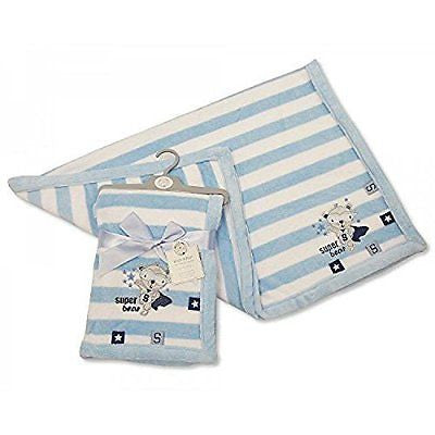 Beautifult Baby Blue Striped Microfleece Snuggle Blanket with Taggs & Embroidere - hanrattycraftsgifts.co.uk