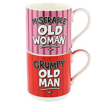 Set 2 Stacking Mugs - Grumpy Old Man & Miserable Old Woman - hanrattycraftsgifts.co.uk
