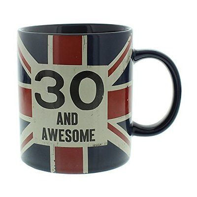 30th Birthday Gift - Union Jack Mug Vintage Style - hanrattycraftsgifts.co.uk