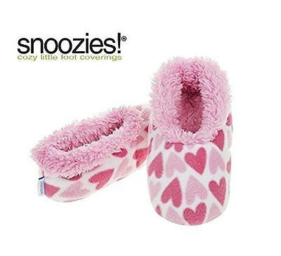 Girls Pink Hearts Fun Kids Snoozies Slippers in S/M/L (2 - 3 UK LARGE GIRLS) - hanrattycraftsgifts.co.uk