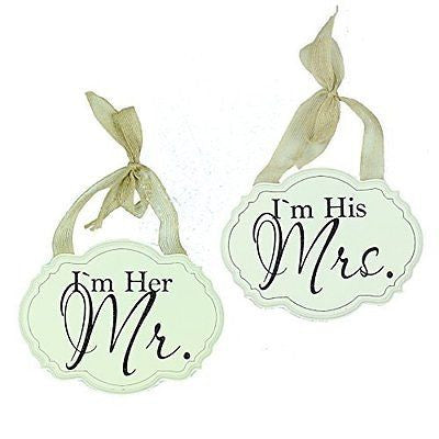 Amore Pair of Wall Plaques Decorations - 'I'm Her Mr' & 'I'm His Mrs' Set of 2 -