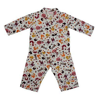 powell craft woodland print pyjamas 6 - 7 yrs - hanrattycraftsgifts.co.uk