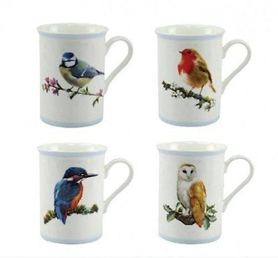 Macneil Birds Set of 4 Mugs Robin Kingfisher Blue Tit Owl - hanrattycraftsgifts.co.uk