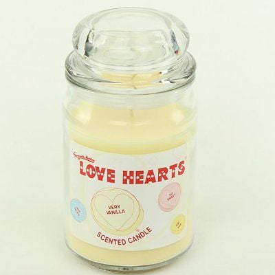 LOVE HEARTS 453g GLASS JAR LID SCENTED CANDLE SCENT CANDLES VERY VANILLA NEW - hanrattycraftsgifts.co.uk