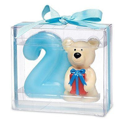 Teddy bear with number 2. 80 x 35 x 70mm. Blue - hanrattycraftsgifts.co.uk