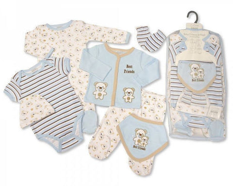 7 Piece Baby Boys Layette Clothing Gift Set Little Teddy Bear  by Nursery Time - hanrattycraftsgifts.co.uk