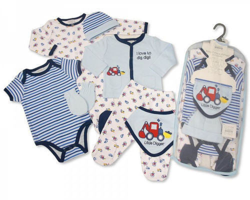 7 Piece Baby Boys Layette Clothing Gift Set Little Digger by Nursery Time - hanrattycraftsgifts.co.uk