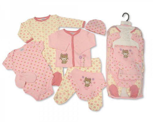 7 Piece Baby Girls Layette Clothing Gift Set Purrfect Me Design by Nursery Time - hanrattycraftsgifts.co.uk
