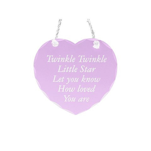 Pink 'Twinkle Twinkle..' Hanging Heart Plaque 7''