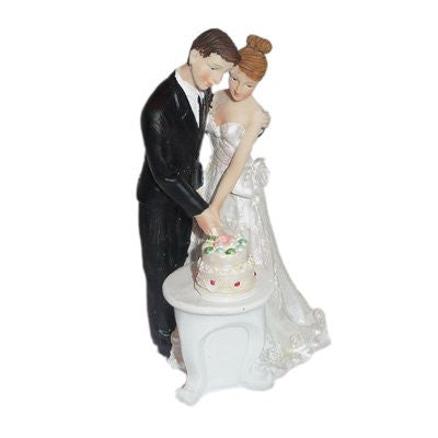 Bride & Groom Cutting Cake Together Cake Topper (XCCM121)