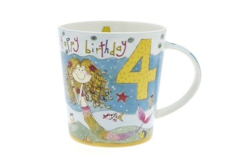 Girls 4th Birthday Mug - Mermaid - Rachel Ellen Designs - hanrattycraftsgifts.co.uk