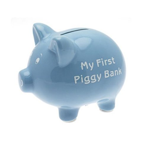 My First Piggy Bank 15cm - Blue - hanrattycraftsgifts.co.uk