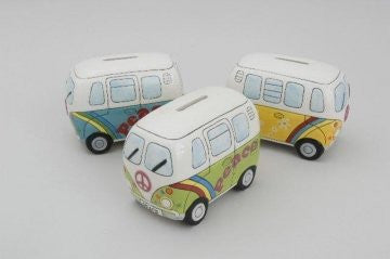 psychedelic money box camper van choice three colours sent at random - hanrattycraftsgifts.co.uk