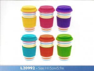 Bright Stripes Take Away Eco Travel Mug Pink Purple Green Blue Yellow Orange