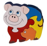 Farmyard Friends Wooden Jigsaw Set of 4 - Piggy, Cow, Sheep, Horse - hanrattycraftsgifts.co.uk