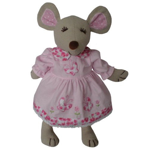 powell craft mouse large with butterfly dress pink - hanrattycraftsgifts.co.uk