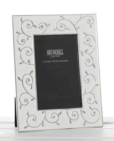 "Silver Plate and White Epoxy Photo Frame with Ornate Swirl Design, 8"" x 10"" Photo"