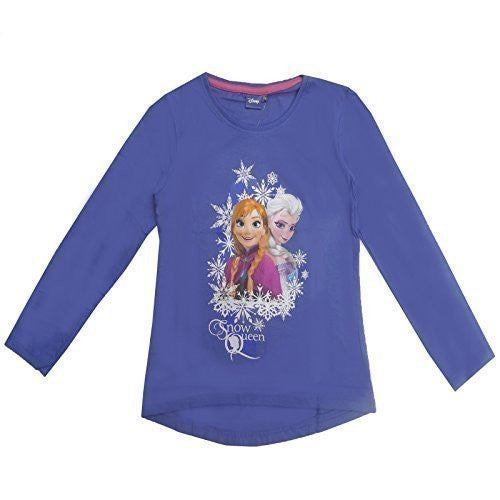 Official Disney Girls Frozen Snow Queen Long Sleeve T-Shirt Top - hanrattycraftsgifts.co.uk