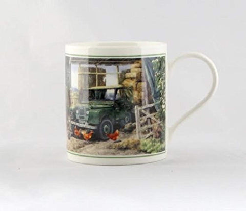 Cachet Old Landrover in Farmyard Fine Art Watercolour China Gift Mug - hanrattycraftsgifts.co.uk