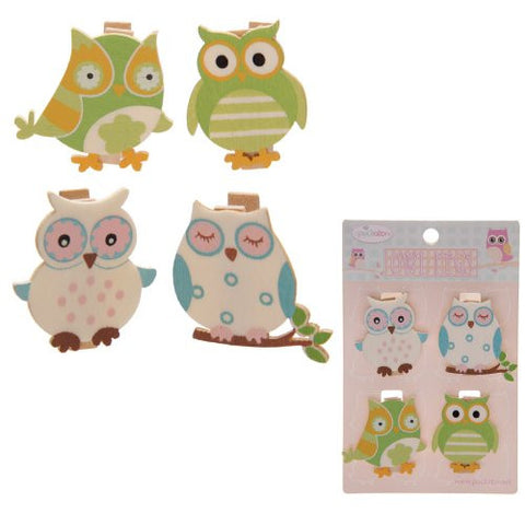 Cute Owl Pegs Pack of 4 - hanrattycraftsgifts.co.uk