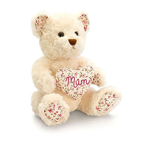 belle rose bear with mum heart 25cm