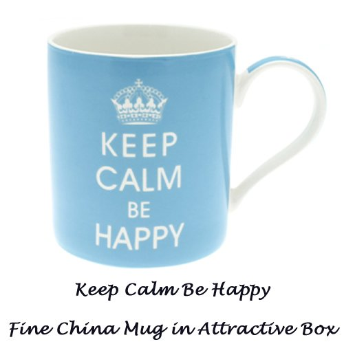 Keep Calm be Happy - Fine China Mug in Gift Box - hanrattycraftsgifts.co.uk