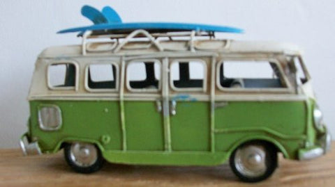 Camper Van Surf Board Ornament 16cm *Hand Painted* - hanrattycraftsgifts.co.uk