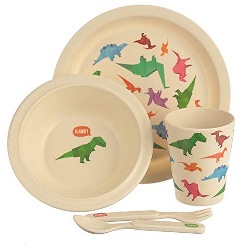 Dinosaur Eco-Friendly Biodegradable Bamboo Plate/Cutlery Set - hanrattycraftsgifts.co.uk