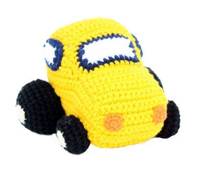 Crochet Yellow Car - hanrattycraftsgifts.co.uk