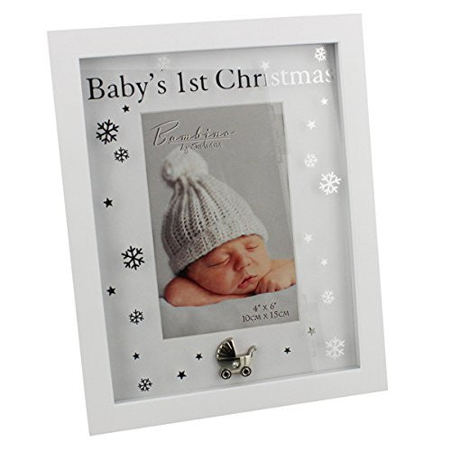 Veka Baby Products-Bambino by Juliana MDF Baby's 1st Christmas Frame 4'' x 6'' - hanrattycraftsgifts.co.uk
