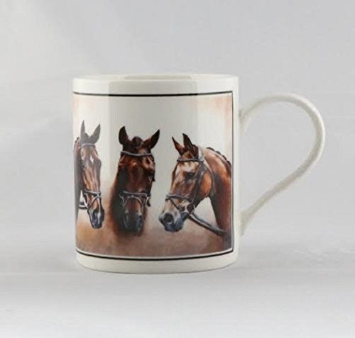 Horses Heads Horse Design Equestrian Hobby Fine China Mug in Gift Box - hanrattycraftsgifts.co.uk