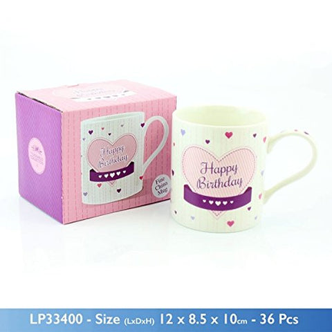 """Happy Birthday"" Fine China Mug with Pink Love Heart Artwork and Matching Presentation Box"