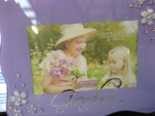 "Juliana Glass Frame with Flower Crystals Grandma 6""x4"" Lilac - hanrattycraftsgifts.co.uk"