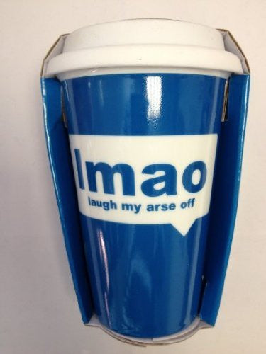 Travel Mug - Text Speak LMAO Laugh My Arse Off - hanrattycraftsgifts.co.uk