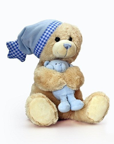 Keel Toys 25cm Cuddles Musical Bear with Teddy - Blue - hanrattycraftsgifts.co.uk