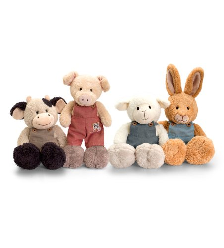 Keel Toys Tumbleweed Farm Animals with Dungarees - Super Cute, Choose Rabbit, Sheep, Cow or Pig - hanrattycraftsgifts.co.uk