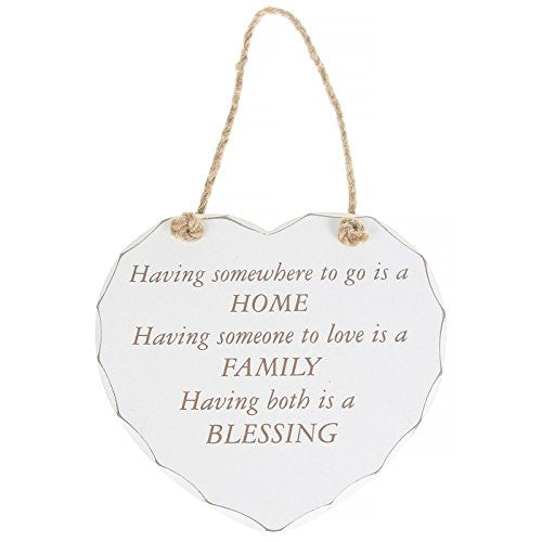 "White ""Home, Family, Blessing"" Shabby Chic Hanging Plaque - hanrattycraftsgifts.co.uk"
